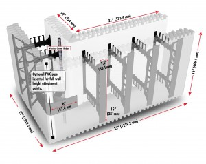 The BuildBlock Corner Block shown with webs and attachment points.