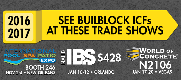 Buildblock exhibits new products at 2016 ibs and woc for Pool spa trade show las vegas