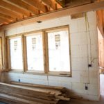 Inside the home as electrical wires are added to the wall