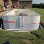 Waterproofing applied to the below grade area of the pool