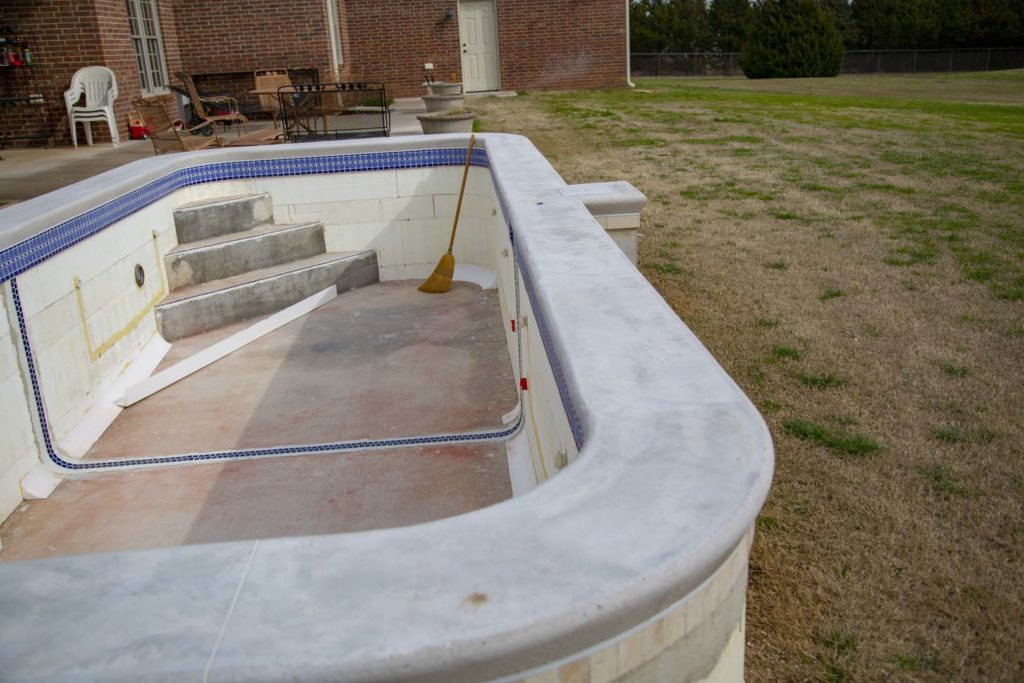 Concrete coping after it's poured and forms removed