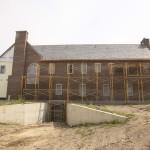 Drew Castle during exterior finish