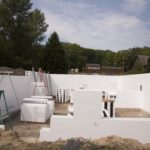ICF walls with bracing being attached