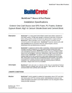 BuildCrete Installation Specifications