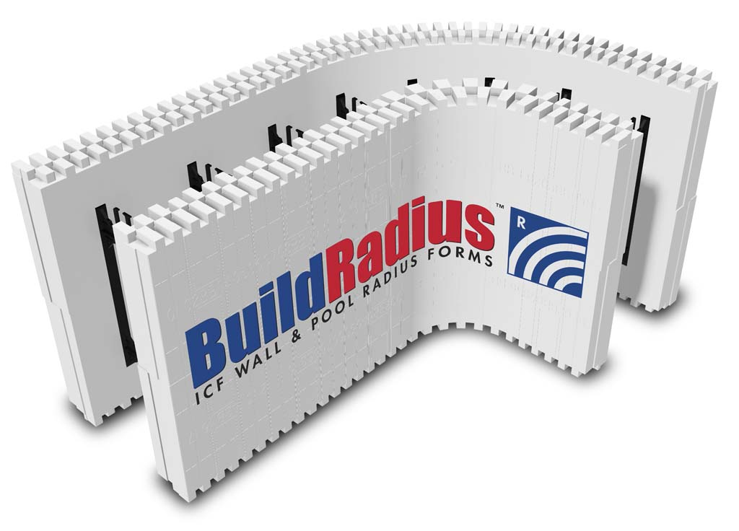 Buildradius wall pool icf radius forms buildblock for Foam block wall construction