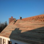 Placing slats on the roof
