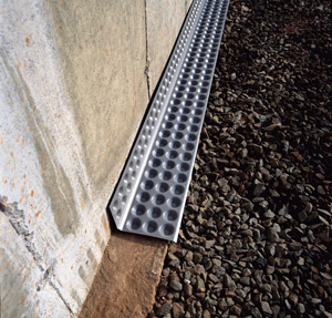 Cactus board floor edging for Wall drainage system